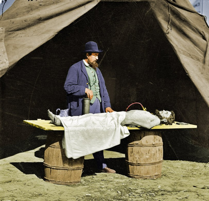 Embalming a Soldier (colorized)