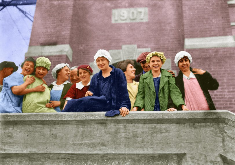 Textile Mill Workers (colorized)
