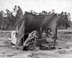 Mother and Children in Tent Camp: 1936