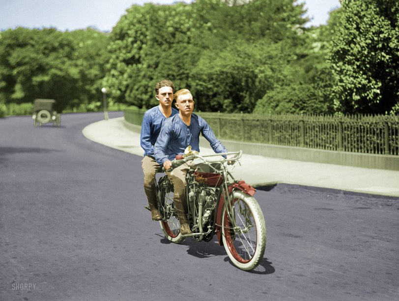 Upright on Two Wheels (Colorized): 1915