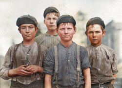 Some Doffer Boys (Colorized): 1909