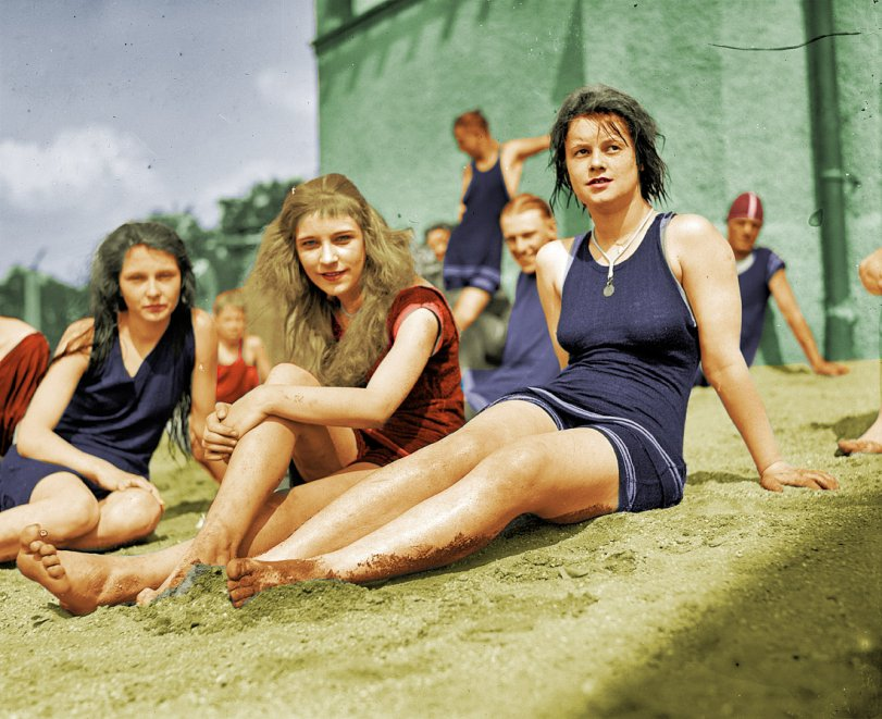 Three Swimmers (colorized)