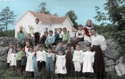 Little White Schoolhouse (Colorized): 1900