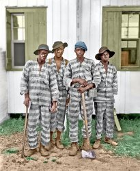 4 Men on a Chain Gang (Colorized)