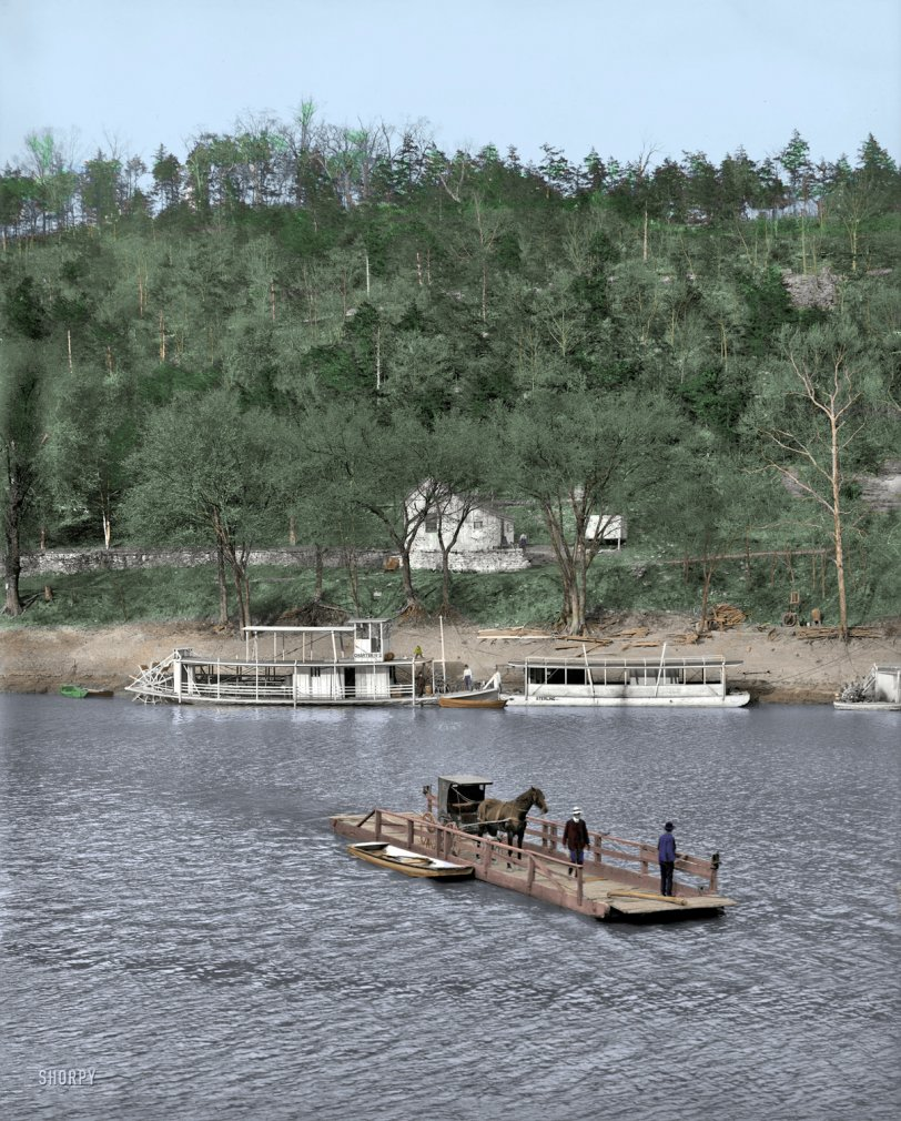 Primitive Ferry (Colorized): 1907