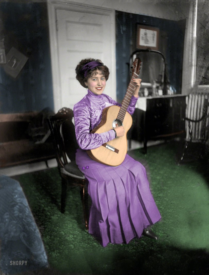 The Guitar Lesson (Colorized): 1910