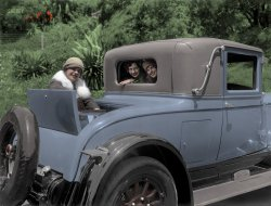 Three Babes and a Buick (Colorized): 1926