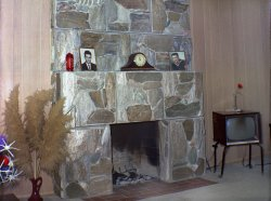 Two mugs and a fireplace: 1962