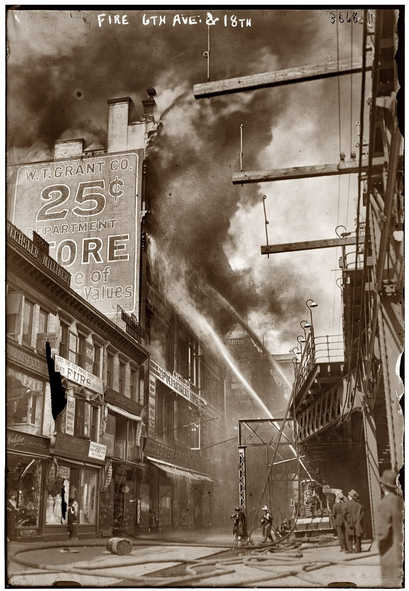 W T Grant Fire 1916 Shorpy Old Photos Poster Art