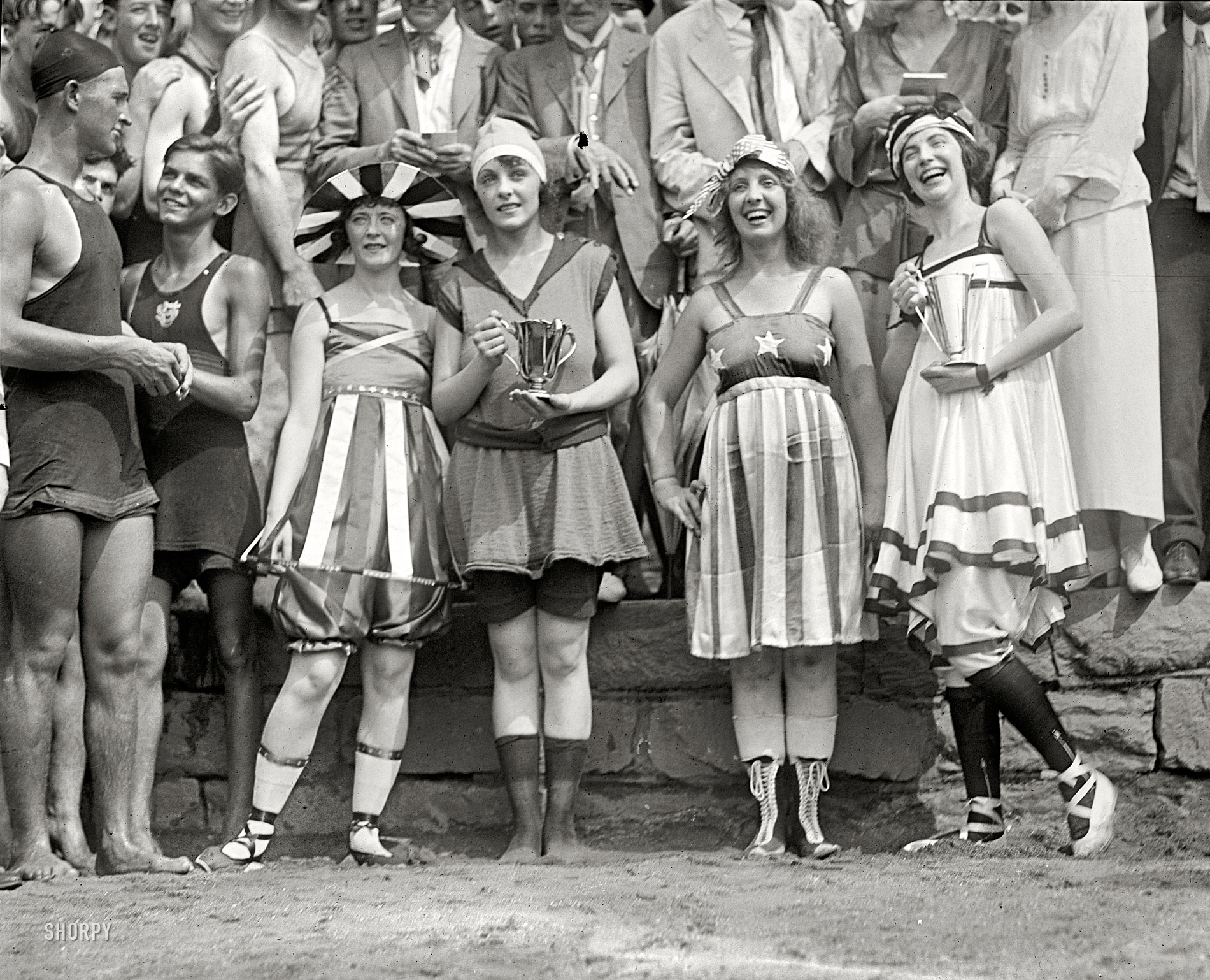 "BUY PRINT Washington, D.C. July 26, 1919. ""Bathing beach parade at Tidal  Basin."" Another glimpse of the swimsuit pageant chronicled in the comments  under ..."