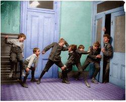Pushing Kids (colorized)