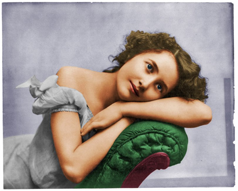 Languorous Young Woman (colorized)