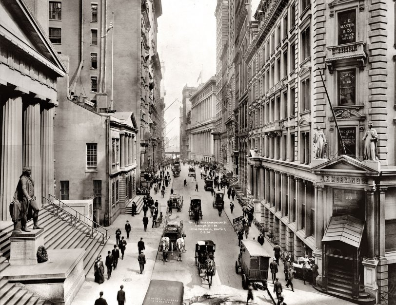 Wall Street east from Nassau Street, 1911. View full size. Irving Underhill.