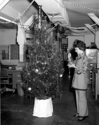 Ma decorates the tree: 1970