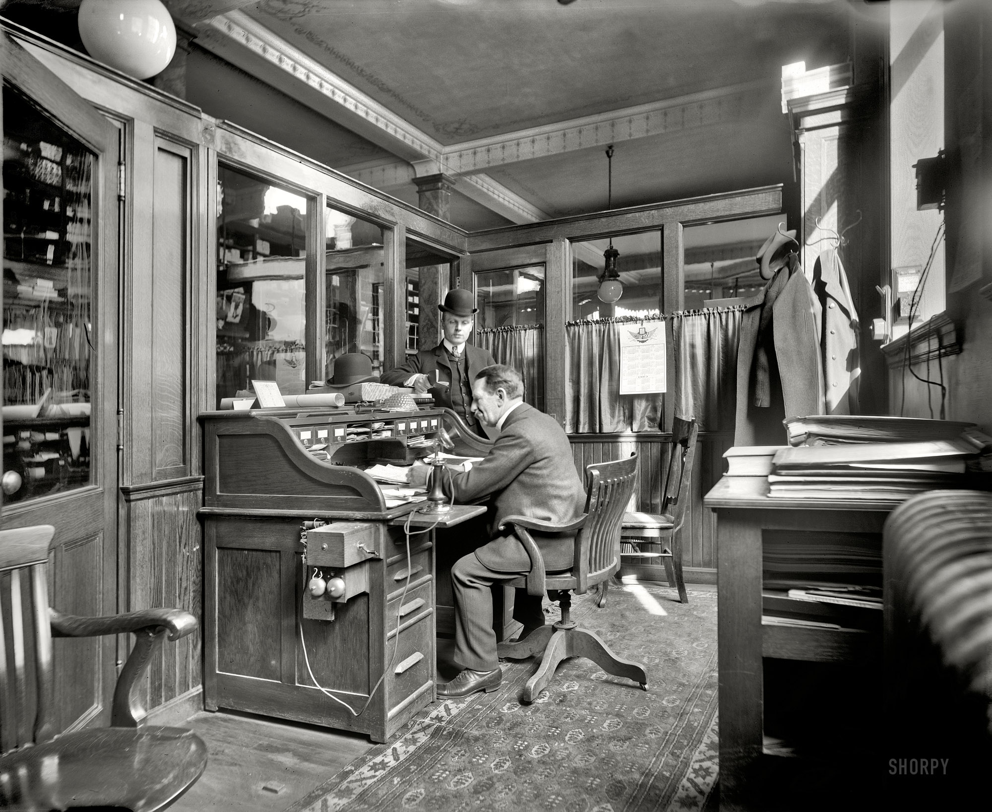 """BUY PRINT Detroit, Michigan, 1902. """"Richmond & Backus Co. office."""" The  other end of the room seen here, with a different cast of characters, and a  cleaner ..."""