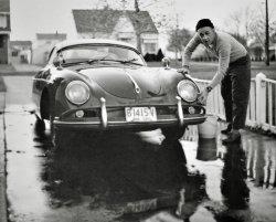 Washing the Porsche: 1966