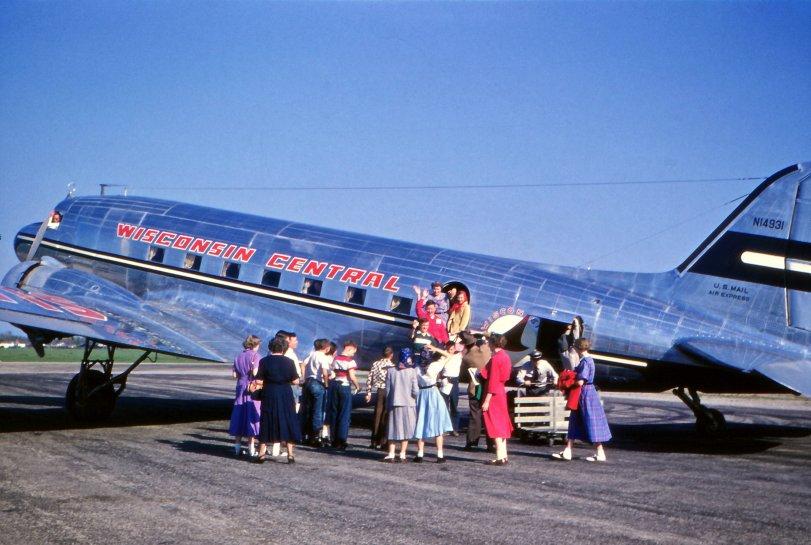 Deplaning at Oshkosh: 1952