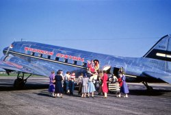 Deplaning at Oshkosh: 1952