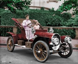 Driving the Franklin (Colorized): 1908