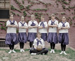 Girls' Hoops (Colorized): 1917