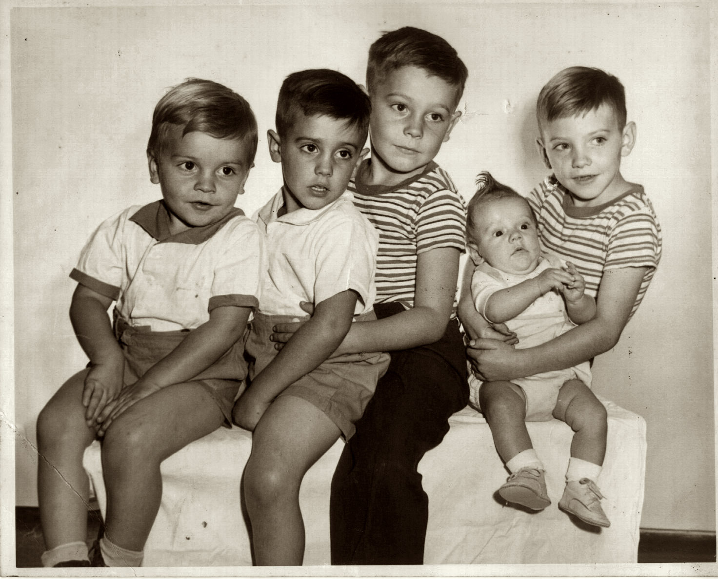 These are my brothers: Dick, Tommy, Kenny, Dale (the baby) and Larry Hedge.  Hall, New York, 1953. I came a few years later, the only girl.