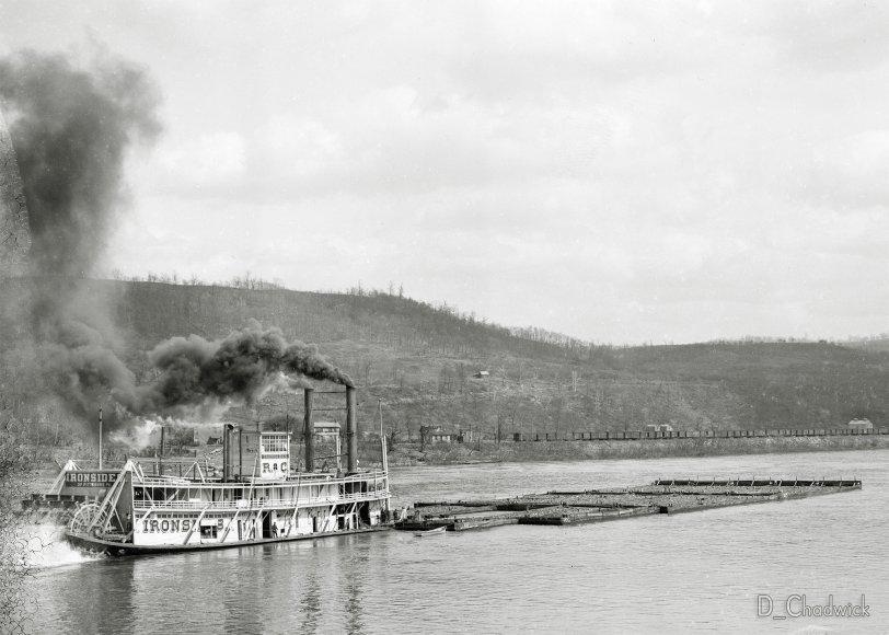 Sternwheel Tow Boat Ironsides: c.1910