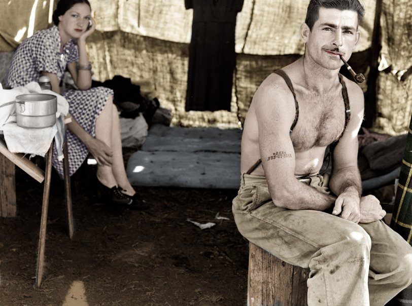 535-07-5248 and Wife (Colorized)