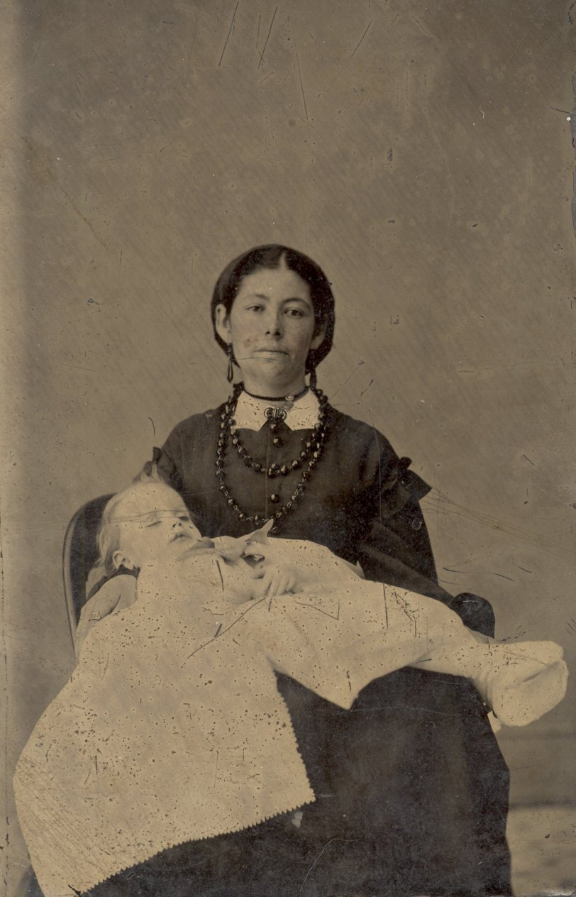 (Tintype) Mother and Baby