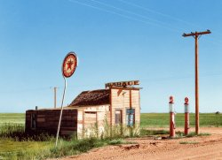 North Dakota Filling Station (Colorized): 1937
