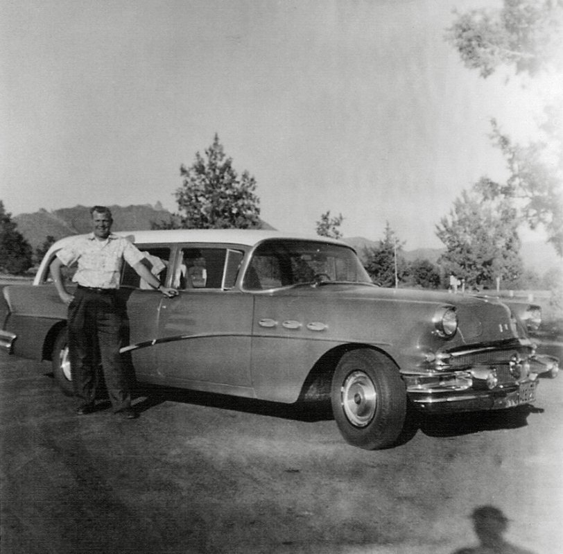 Man with Buick: 1957