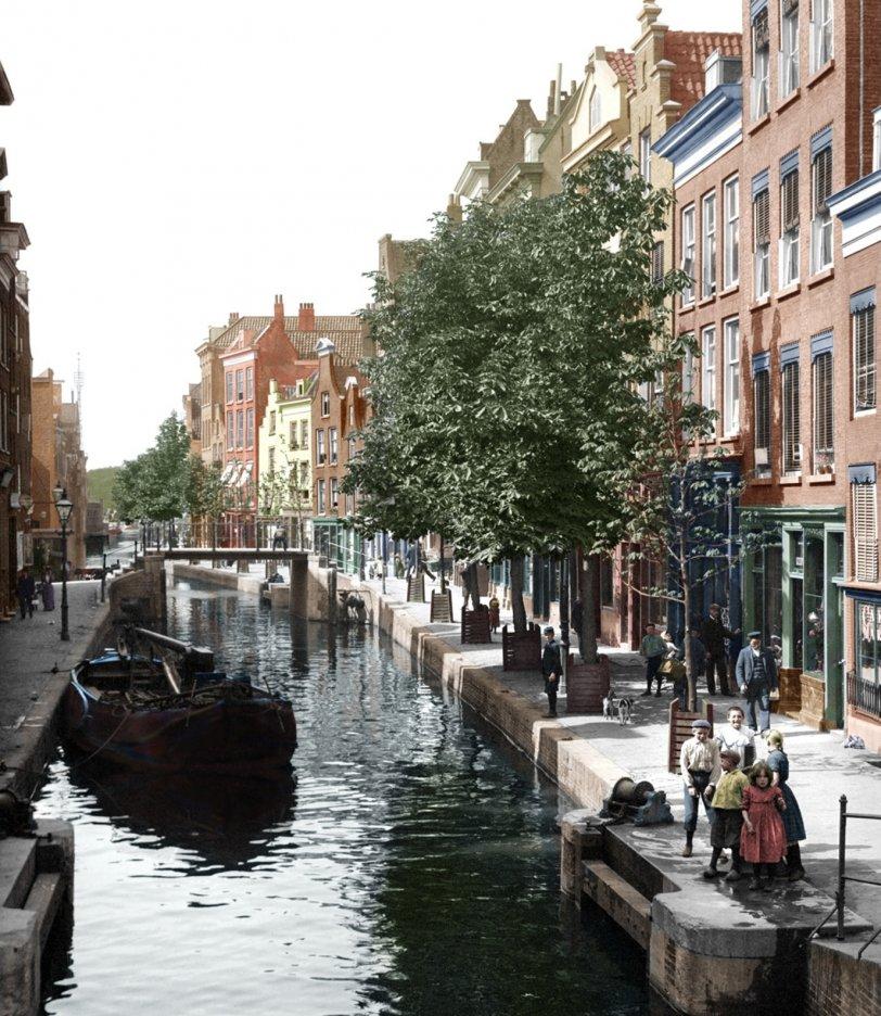 Rotterdam Canal (Colorisé): 1904