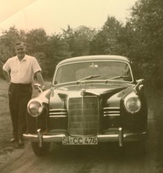 My father in law with a Mercedes