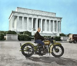 Sally's Harley (Colorized): 1937