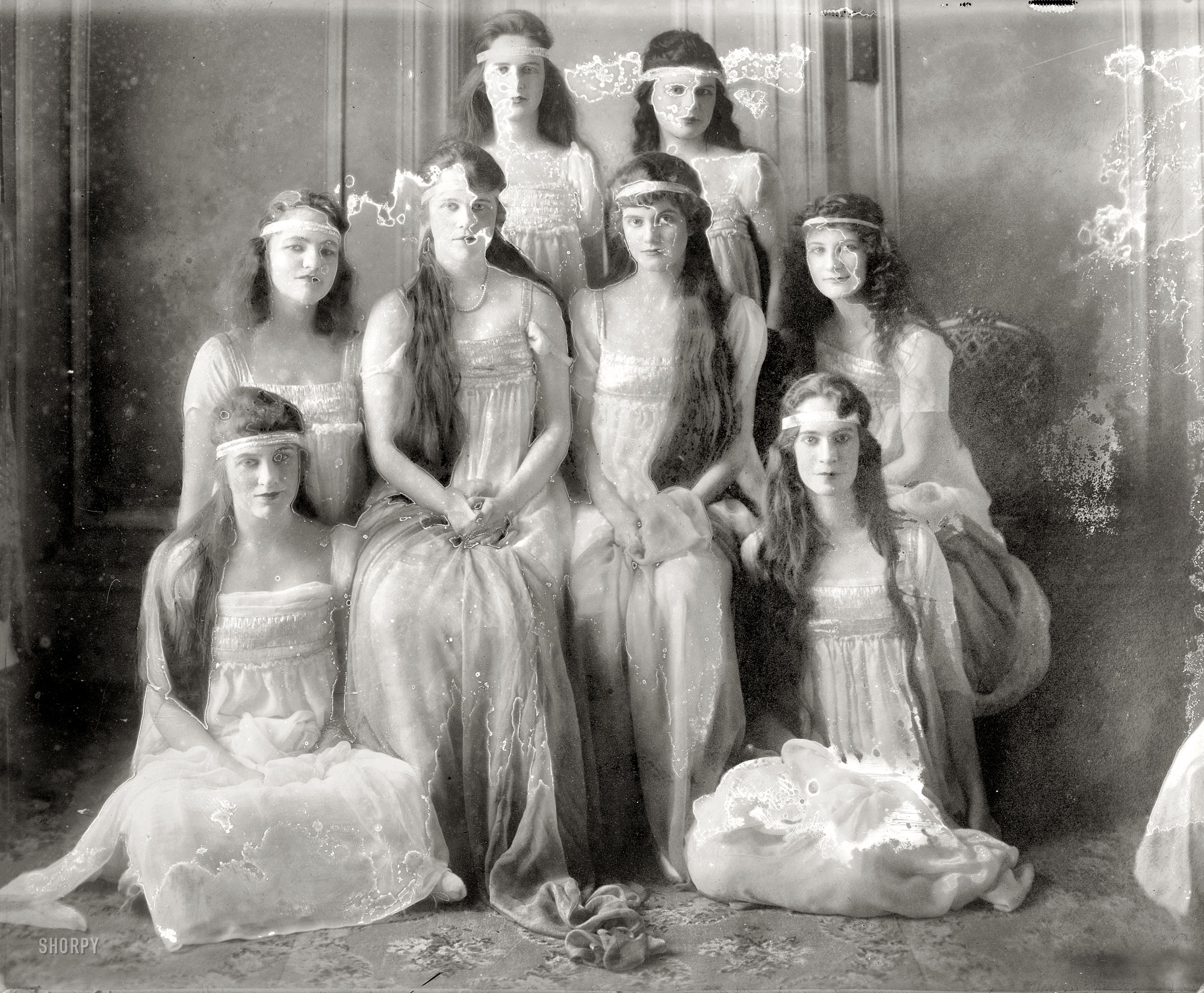 "BUY PRINT New York circa 1915. ""Eleanor Davies -- Marion Gibney -- Emalena  Sizer -- Caryl Hackstaff -- Elizabeth Kirlin -- Laura Parsons -- Sophie  Young ..."