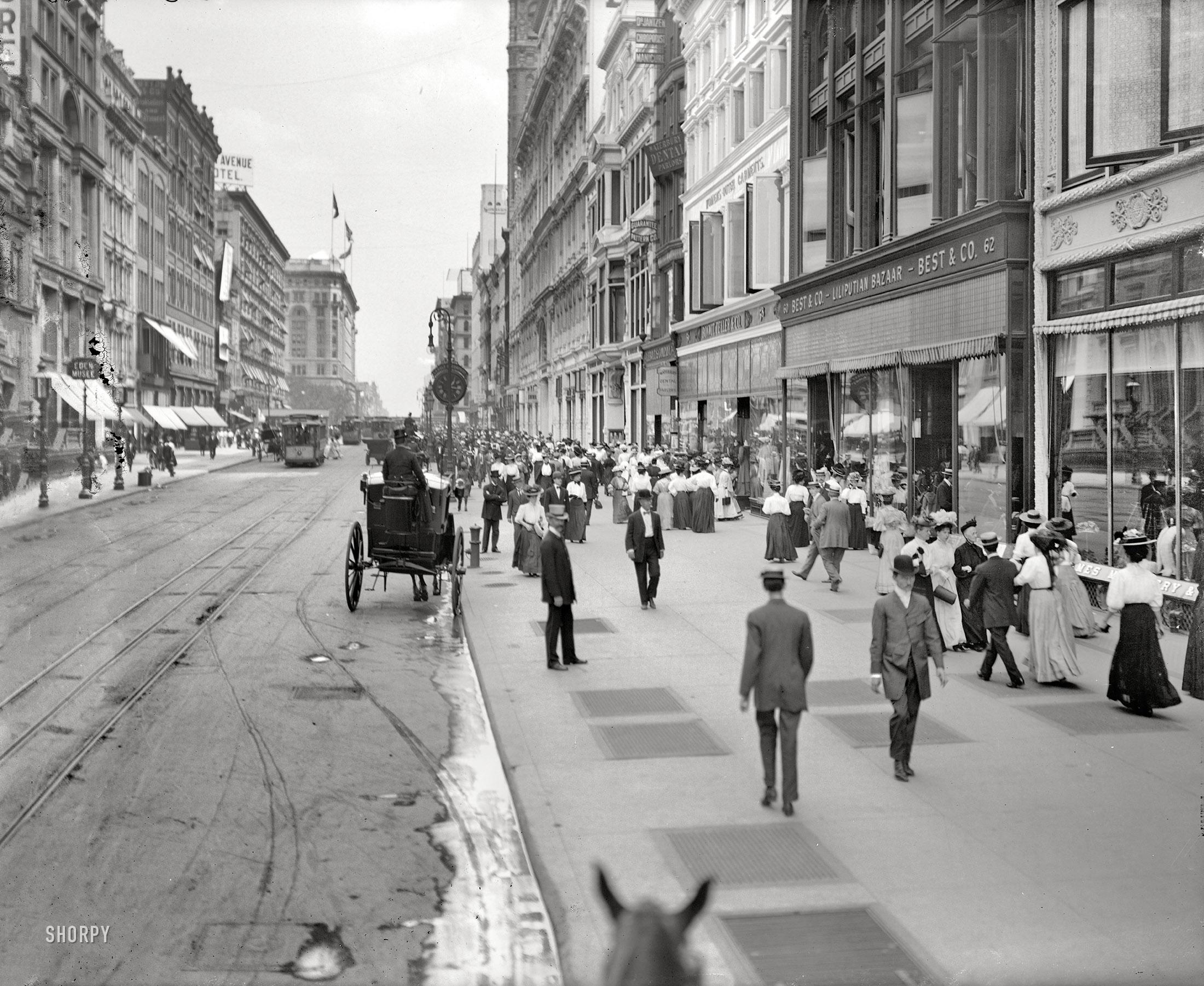 "BUY PRINT New York circa 1905. ""West 23rd Street."" Home to Best & Co's  ""Lilliputian Bazaar,"" Bonwit Teller (""Women's Outer Garments""), Waterbury  Dental ..."