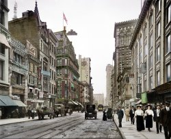 Bustling Broadway (Colorized): 1910