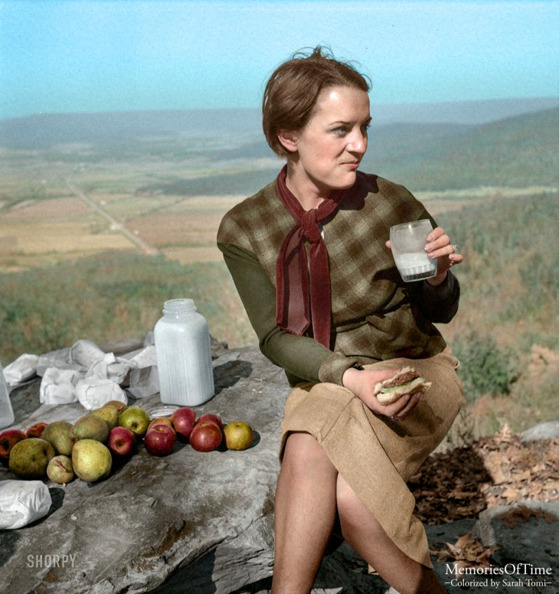 Apples Alfresco (Colorized): 1941