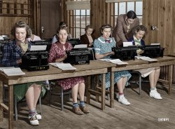The Typing Pool (Colorized): 1939