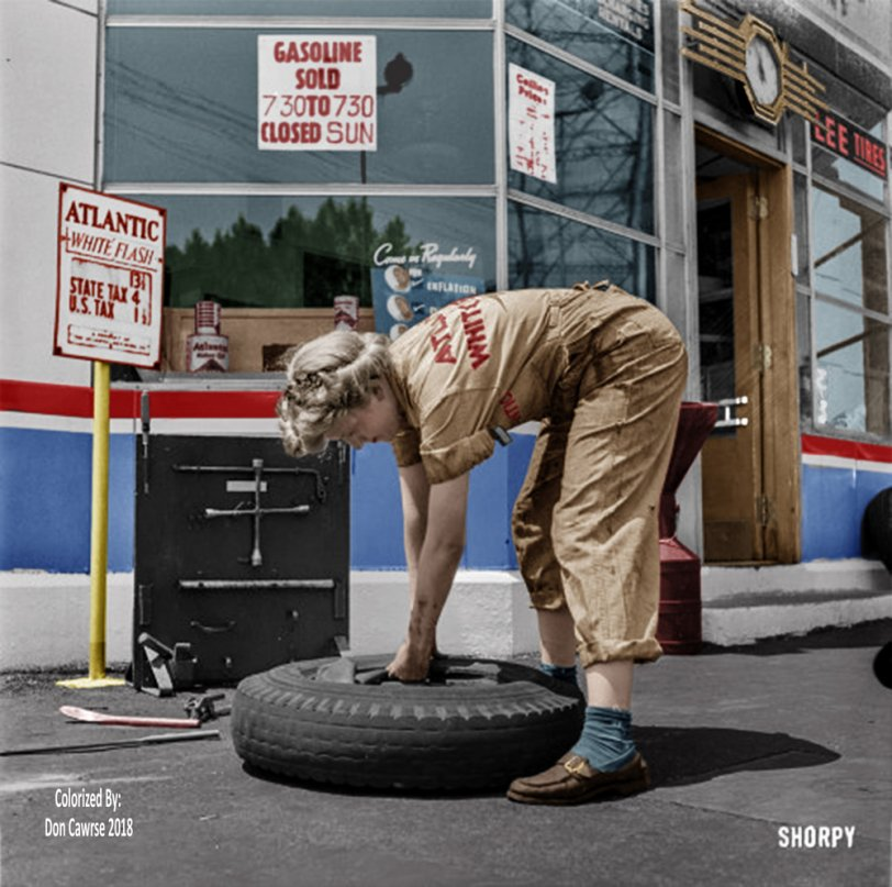 Tire Jockey (Colorized): 1943