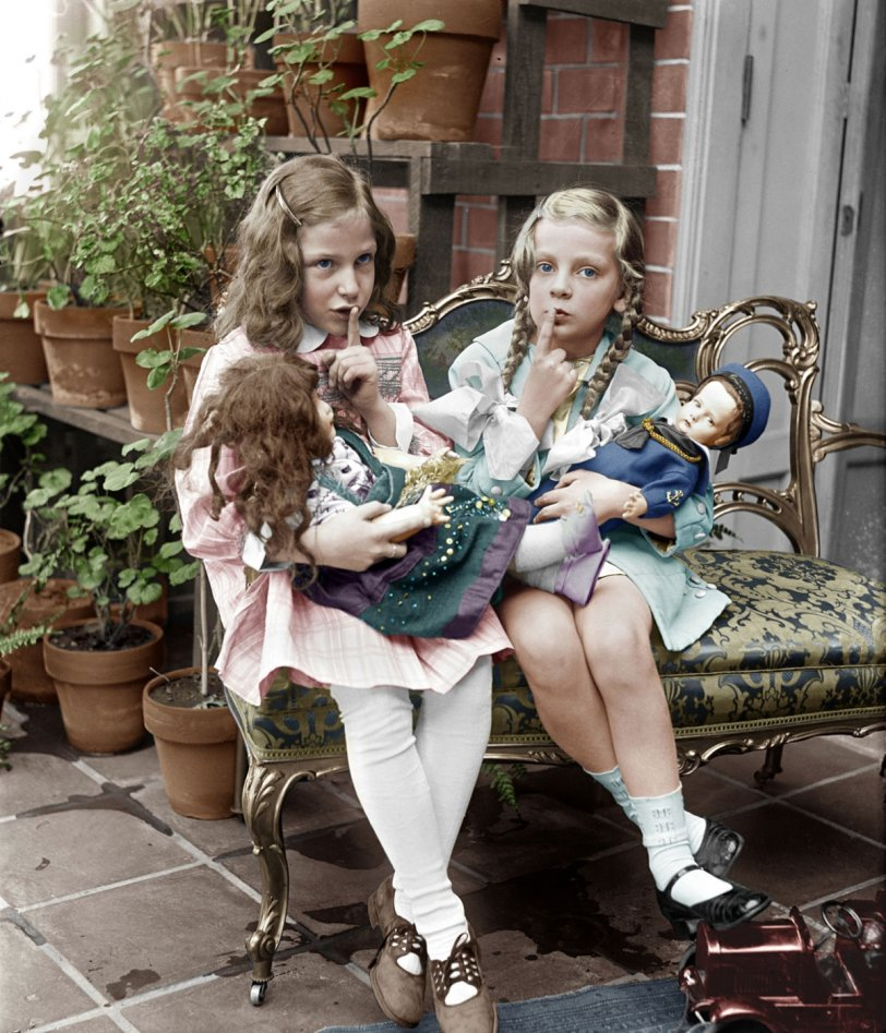 Two Young Girls With Dolls  (Colorized)