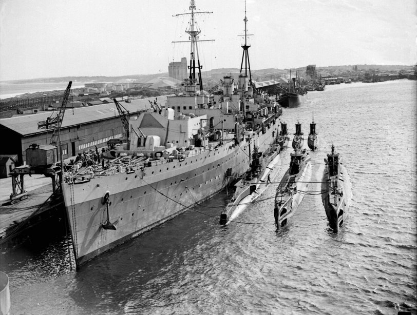 HMS Adamant and British submarines in Fremantle Harbour in Western Australia