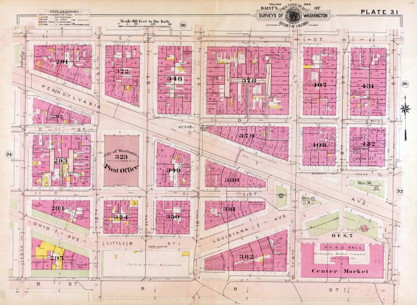 1909 Downtown DC map