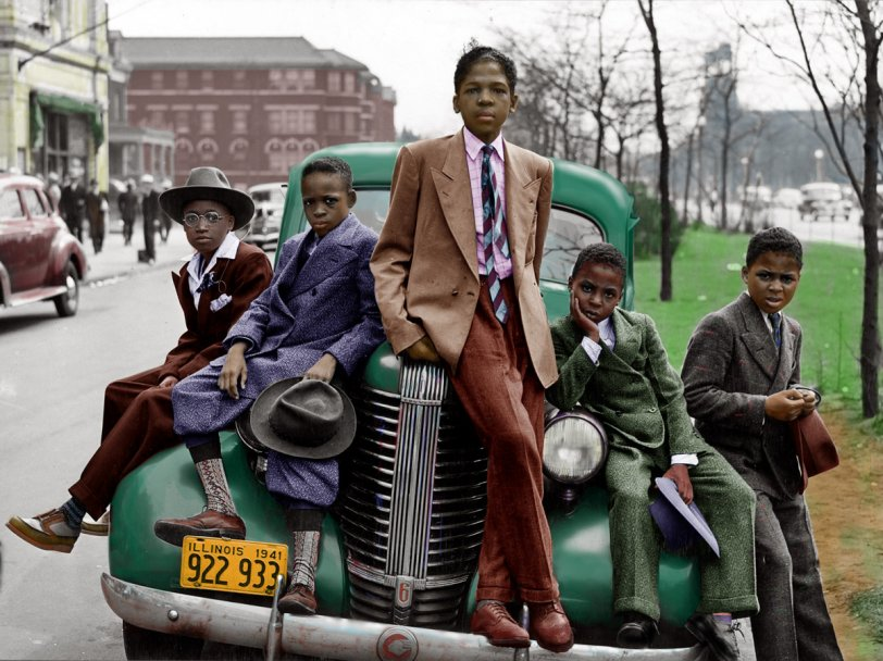 Boys on a Car (Colorized)