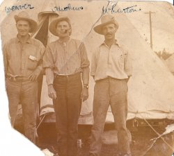 Pvts. Weaver, Matthew and Wharton - Camp Borden, July 1916