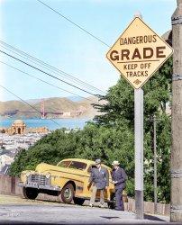 Upward Oldsmobile (Colorized): 1940