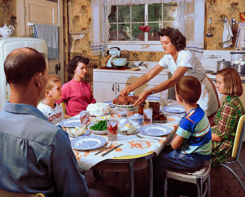 Family Dinner (Colorized): 1952