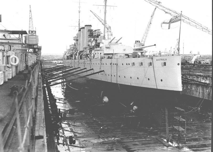 HMAS Australia in drydock, c. 1938