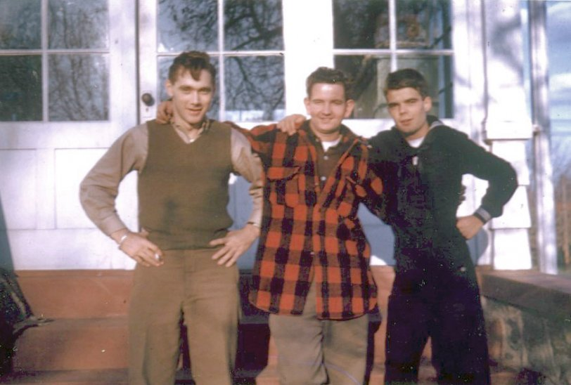 Three friends supporting WWII