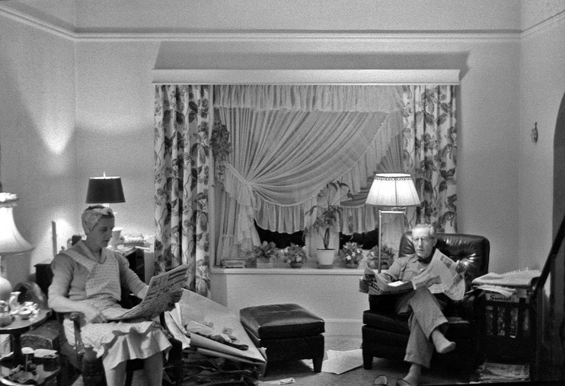 Candid Living Room: 1955