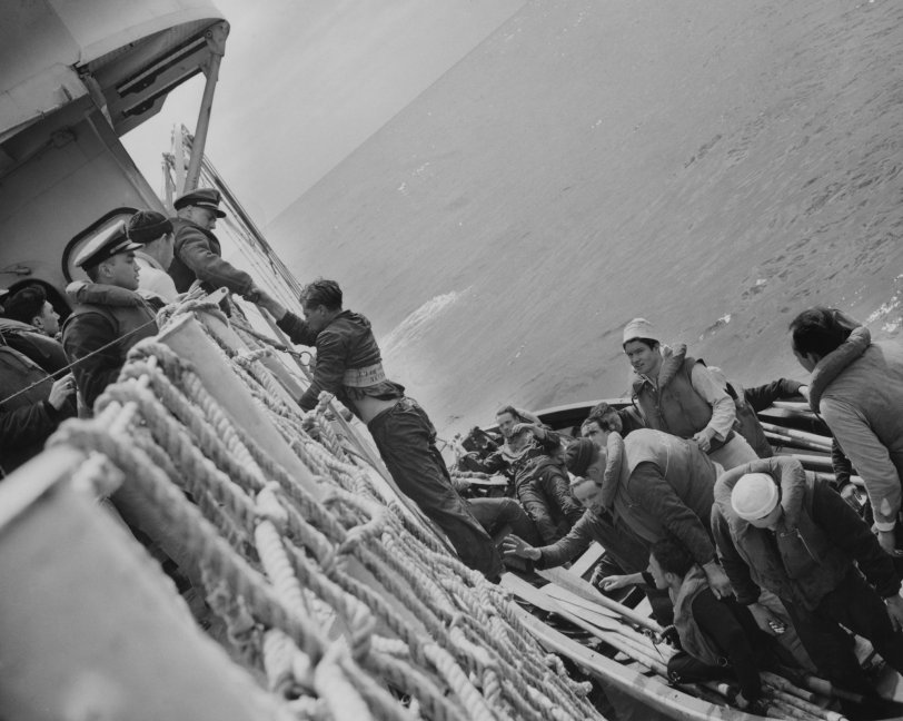Coast Guard rescues men from destroyed Nazi U-Boat - April 1943
